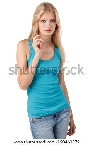 Portrait of young blond casual female against white background - stock photo