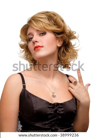 Portrait of young blond girl isolated over white - stock photo