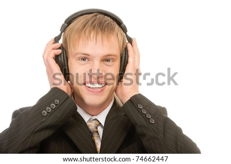 portrait of young blond man in suit and headset on white - stock photo