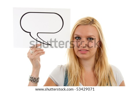 portrait of young blonde woman holding text balloon over white background