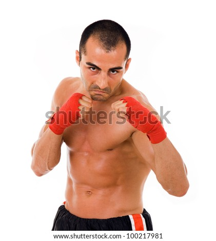 Portrait of young boxer fighter over white background - stock photo