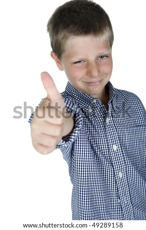 Portrait of young boy giving thumbs up, studio shot - stock photo