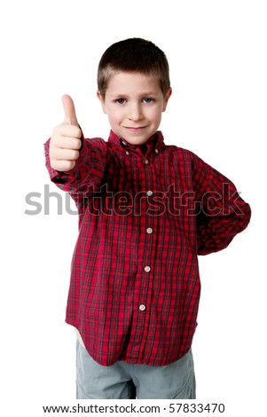 Portrait of young boy in plaid shirt giving thumbs up, studio shot isolated on white - stock photo