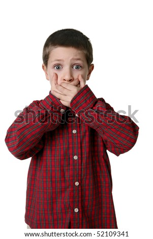Portrait of young boy in plaid shirt with hands over mouth, studio shot - stock photo