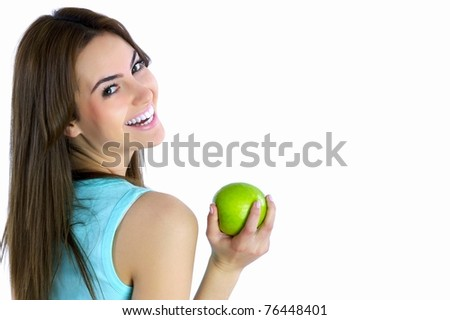portrait of young brunette fitness girl - stock photo