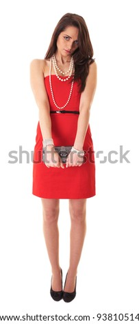 Portrait of young brunette in red dress, full body shoot isolated on white - stock photo