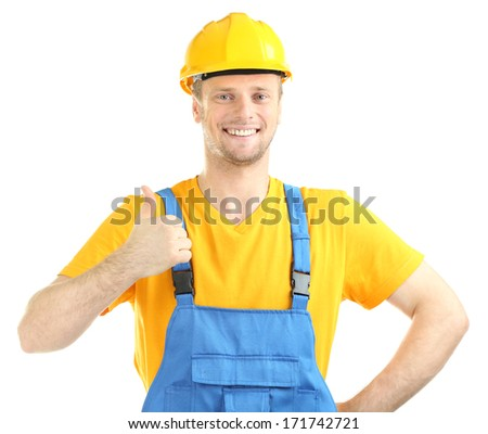 Portrait of young builder isolated on white - stock photo