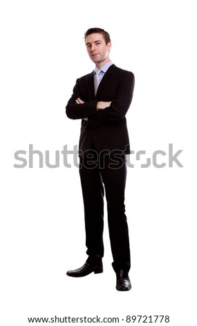 Portrait of young business man against white background - stock photo