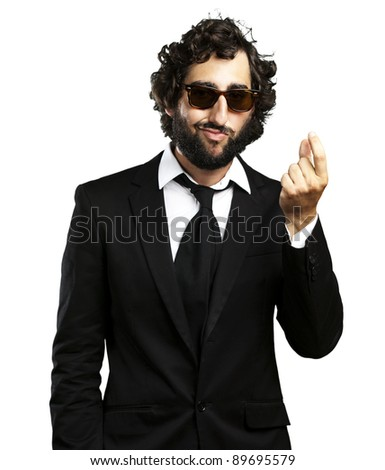 portrait of young business man gesturing money over white background - stock photo