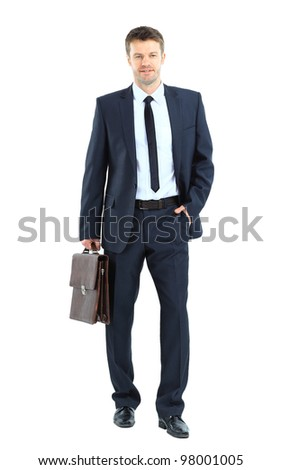 portrait of young business man holding briefcase in hand isolated on white