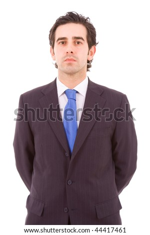 portrait of young business man, isolated on white - stock photo