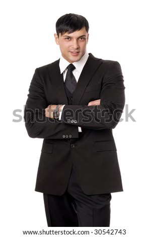 Portrait of young business man isolated on white background - stock photo
