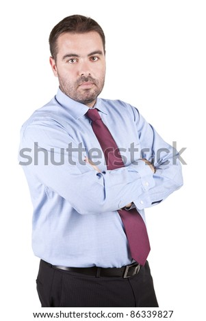 Portrait of young business man, isolated on white background - stock photo