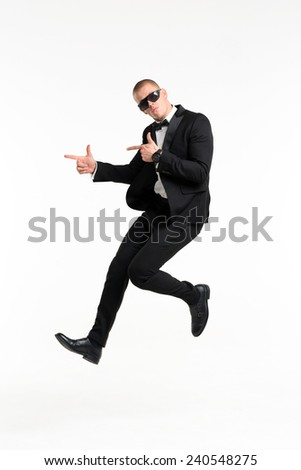 Portrait of young business man, isolated over white background - stock photo