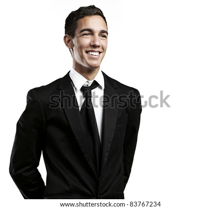 portrait of young business man smiling against a white background - stock photo