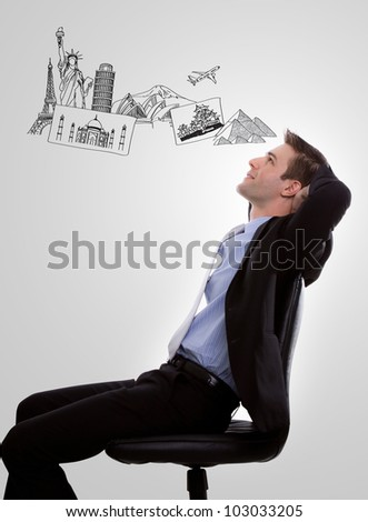 Portrait of young business man think to travel against white background - stock photo