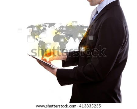 Portrait of young business man using a touch screen device against white background - stock photo