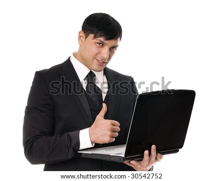 Portrait of young business man witrh laptop on white background. - stock photo