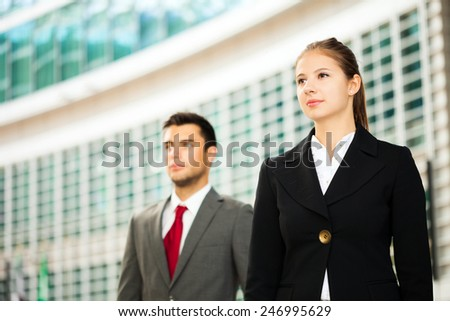 Portrait of young business people looking to the future - stock photo