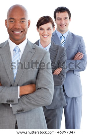 Portrait of young business team against a white background