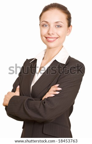 Portrait of young business woman folding her arms on a white background - stock photo