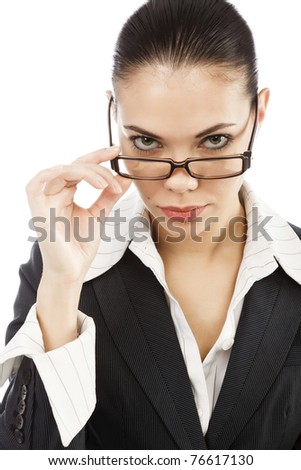 portrait of young business woman holding her eye-glasses, isolated on white background