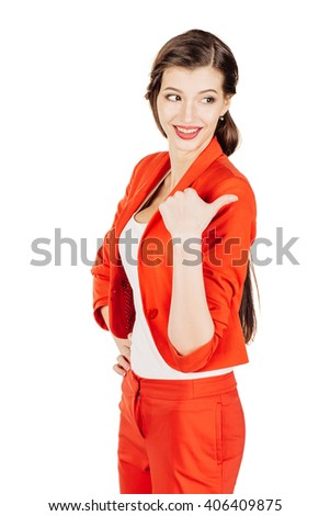 portrait of young business woman in red suit pointing and showing copy space. isolated on white background. business and lifestyle concept