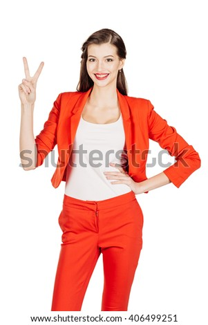 portrait of young business woman in red suit showing two fingers. Hand counting. isolated on white background. business and lifestyle concept