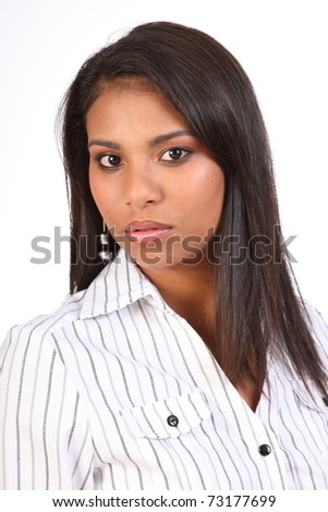 Portrait of young business woman in white shirt