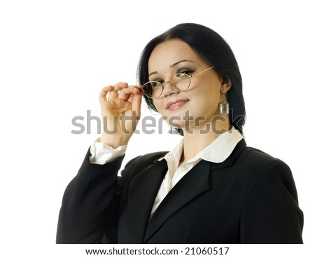portrait of young business woman, on the white background - stock photo