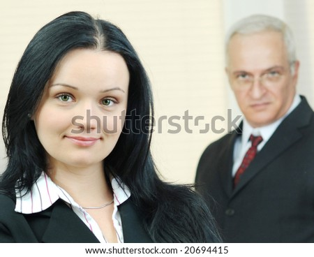 portrait of young business woman, selective focus - stock photo