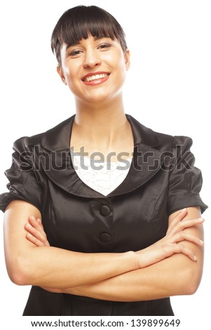 Portrait of young business woman smiling casually over white background - stock photo