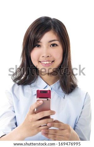 Portrait of young business woman talking on mobile phone - stock photo