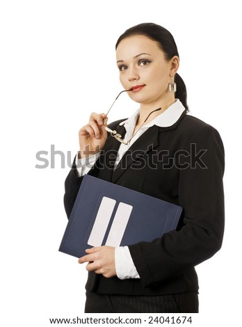 Portrait of young business woman thinking - stock photo
