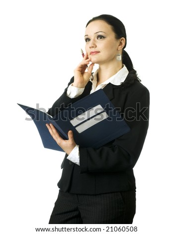 portrait of young business woman thinking, on the white background - stock photo