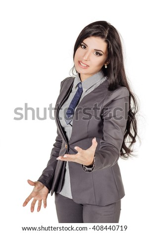 Portrait of young business woman threatening the hand into camera.. human emotion expression and lifestyle concept. image on a white studio background. - stock photo