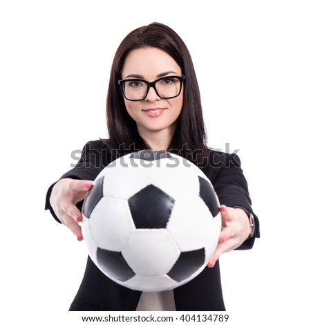 portrait of young business woman with soccer ball isolated on white background - stock photo
