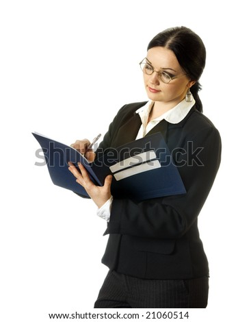portrait of young business woman writing, on the white background - stock photo