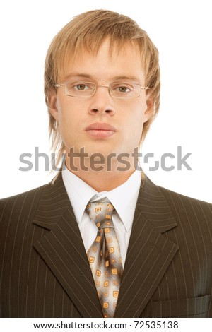 Portrait of young businessman close up, isolated on white background. - stock photo