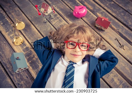 Portrait of young businessman in modern loft office. Success, creative and innovation concept. Copy space for your text - stock photo