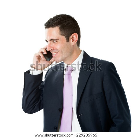Portrait of Young businessman in suit talking on smart phone.Isolated on white background. - stock photo