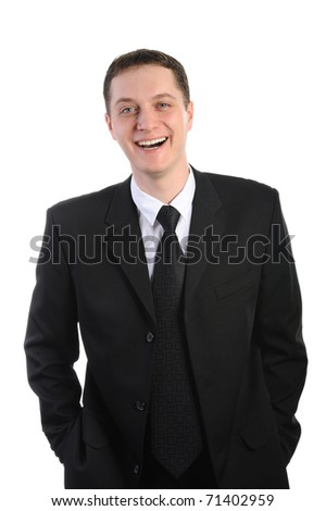 Portrait of young businessman. Isolated on white background