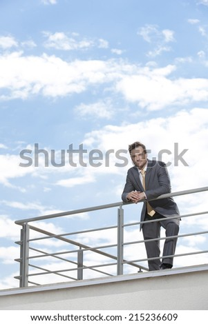 Portrait of young businessman leaning on terrace railings - stock photo