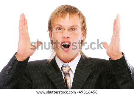 Portrait of young businessman shouting loudly with his arms widened, isolated on white background. - stock photo