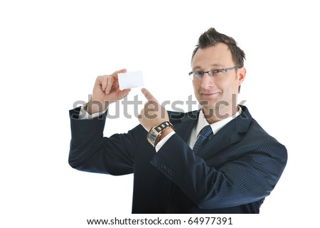 portrait of young businessman with empty business card isolated on white
