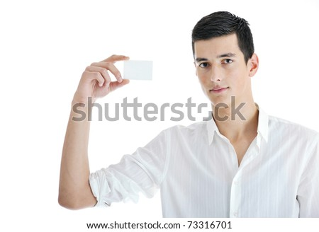 portrait of young businessman with empty business card isolated on white background - stock photo