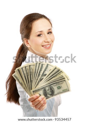 Portrait of young businesswoman holding dollar bills isolated over white background - stock photo