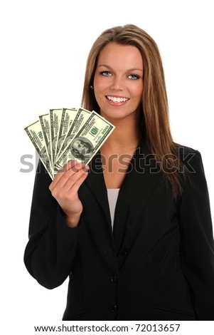 Portrait of young businesswoman holding hundred dollar bills isolated over white background - stock photo