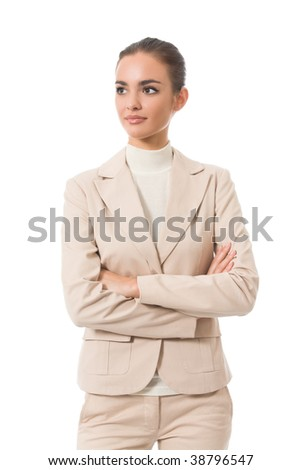 Portrait of young businesswoman, isolated on white
