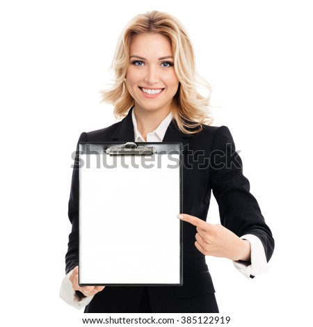 Portrait of young businesswoman showing blank clipboard, with copyspace area for text or slogan, isolated against white background - stock photo